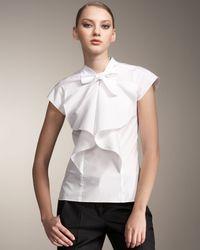 Carolina Herrera | White Cotton Poplin Ruffle Front Blouse | Lyst