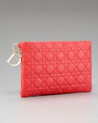 Dior | Red Flat Cannage Pouch, Medium | Lyst