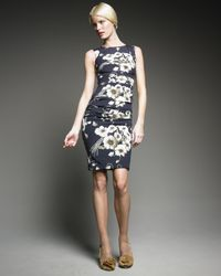 Dolce & Gabbana | Blue Floral-print Ruched Dress | Lyst