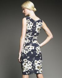 Dolce & Gabbana - Blue Floral-print Ruched Dress - Lyst
