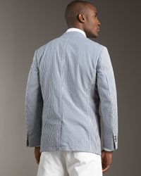 Ermenegildo Zegna - Blue Striped Seersucker Blazer for Men - Lyst