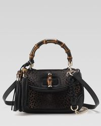 Gucci | Black New Bamboo Shoulder Bag, Medium | Lyst