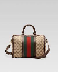 Gucci   Brown Vintage Web Medium Boston Bag   Lyst