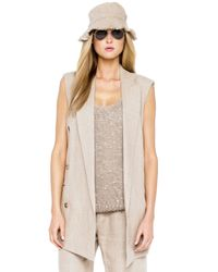 Michael Kors | Natural Linen Sleeveless Jacket | Lyst