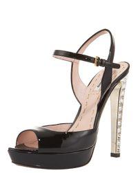 Miu Miu | Black Patent Jewel-heel Sandal | Lyst