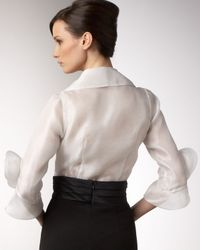 Redux Charles Chang-lima - White Rosette-sleeve Organza Blouse - Lyst