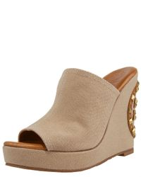 Tory Burch | Natural Meredith Canvas Wedge Slides | Lyst