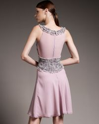Zac Posen | Pink Tweed and Chiffon Vest Dress | Lyst