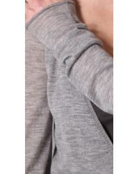 Enza Costa | Gray Cashmere Deep V-neck Tunic Sweater in Cold Grey | Lyst