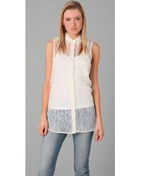Equipment - White Lowe Eyelet Adrien Blouse - Lyst