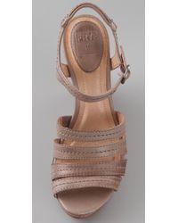 Frye - Gray Corrina Stitched Wedge Sandals - Lyst