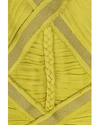 Hervé Léger | Green Pleat-bodice Silk-chiffon Gown | Lyst