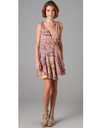 Parker | Purple Lurex Stripe Shoulder Tie Dress | Lyst