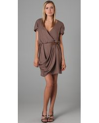 Tibi | Brown Angel Draped Dress | Lyst