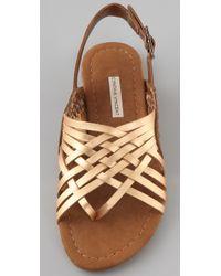 Twelfth Street Cynthia Vincent | Metallic Hawk Huarache Flat Sandals | Lyst