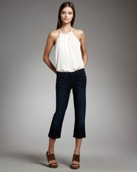 7 For All Mankind | Blue Crop & Roll Skinny Bayside Shore Jeans | Lyst