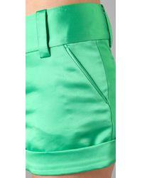 Alice + Olivia | Green Cady Cuff Shorts | Lyst