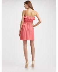MILLY - Pink Stephanie Ruffle Dress - Lyst