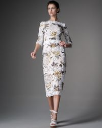 Dolce & Gabbana | White Half-sleeve Lace & Floral Dress | Lyst