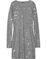 DKNY | Metallic Sequin-embellished T-shirt Dress | Lyst
