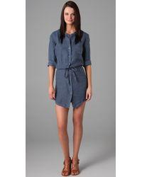 James Perse | Blue Linen Shirtdress | Lyst