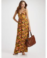 MILLY | Multicolor Leah Chain Halter Maxi Dress | Lyst