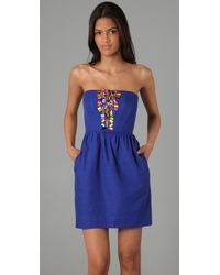 Shoshanna - Blue Beaded Strapless Dress - Lyst