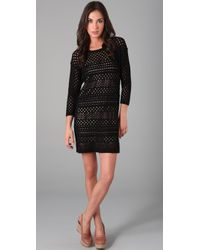 Tibi | Black Crochet 3/4 Sleeve Dress | Lyst