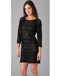 Tibi - Black Crochet 3/4 Sleeve Dress - Lyst