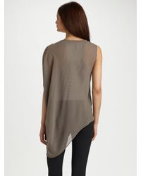 Helmut Lang | Gray Pebble-silk One-shoulder Top | Lyst