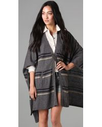 Madewell | Gray Striped Summertide Poncho | Lyst