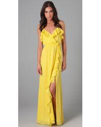 MILLY | Yellow Stephanie Maxi Dress | Lyst