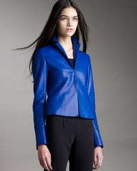Akris - Blue Leather Jacket - Lyst