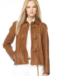 Michael Kors | Brown Toggle Leather Jacket | Lyst