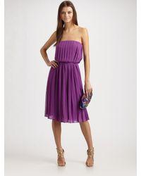 Halston | Purple Strapless Pleated Dress | Lyst