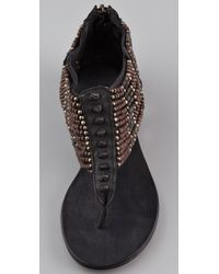 Ash | Black Molly Beaded Sandal Flat  | Lyst