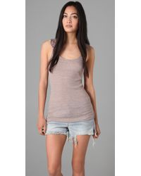 Free People | Gray The Long and Lean Layering Fabulousness Tank in Taupe Heather | Lyst