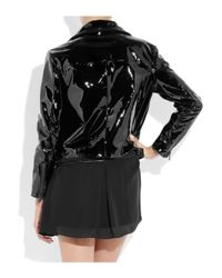 Acne | Black Rita Patent-leather Biker Jacket | Lyst