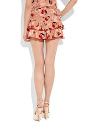Anna Sui | Pink Printed Silk Crepe De Chine Shorts | Lyst