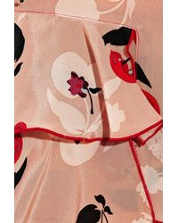 Anna Sui - Pink Printed Silk Crepe De Chine Shorts - Lyst