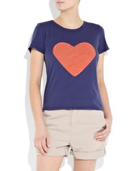 A.P.C. | Blue Heart Cotton-jersey T-shirt | Lyst