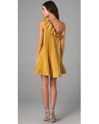 BCBGMAXAZRIA - Yellow Cece Sunburst Dress - Lyst