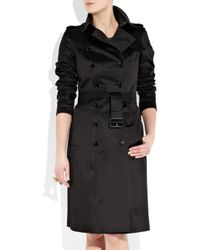 Burberry Prorsum | Black Cotton-sateen Trench Coat | Lyst