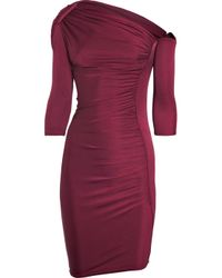 Catherine Malandrino | Purple Asymmetric Ruched Silk-jersey Dress | Lyst