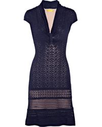 Catherine Malandrino | Blue Pointelle Knitted Stretch-jersey Dress | Lyst