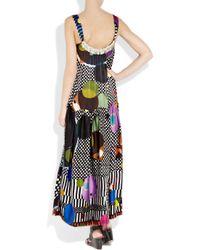 Easton Pearson - Black Printed Silk-satin Maxi Dress - Lyst