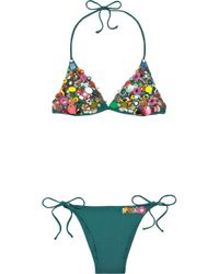 Emamó | Blue India Embellished Triangle Bikini | Lyst