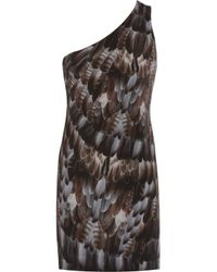 Emma Cook - Gray Feather-print Silk Crepe De Chine Dress - Lyst