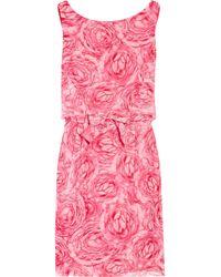 Giambattista Valli - Pink Floral-print Silk-chiffon Dress - Lyst