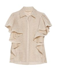 Giambattista Valli | White Ruffled Cutout Silk-blend Blouse | Lyst